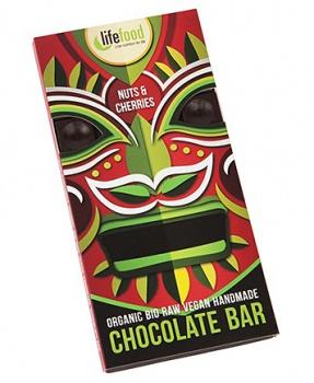 RAW ČOKO S KOUSKY OŘECHŮ A TŘEŠNÍ 70 g raw, bio, bio čokoláda, raw čokoláda, kakao, čokoláda s kousky ořechů, třešně