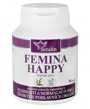 FEMINA HAPPY 90 kapslí plodnost, vitalita, ženské orgány, pohlavní orgány, reprodukce, klimakterium, menstruace, kapsle, serafin