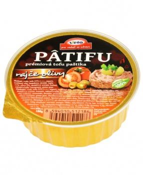 PATIFU RAJČE-OLIVY 100g paštika, tofu paštika, vegan, pomazánka, prémiová tofu paštika