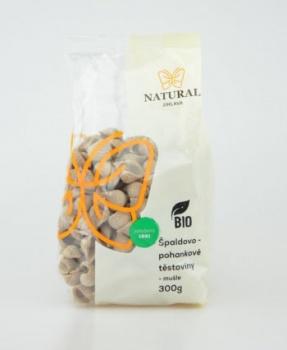 ŠPALDOVO-POHANKOVÉ MUŠLE BIO 300g špaldové těstoviny,špaldovo pohankové těstoviny,špalda,pohanka,těstoviny,bio těstoviny, celozrnné těstoviny, BIO
