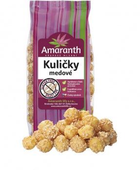 KULIČKY MEDOVÉ 100 g medové kuličky, mlsání, bez lepku, amaranth, kukuřice, rýže