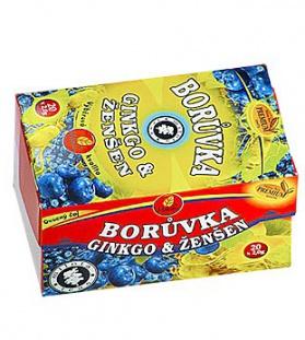 BORŮVKA, GINKGO & ŽENŠEN porcovaný  borůvkový čaj s ginkgem, čaj se ženšenem