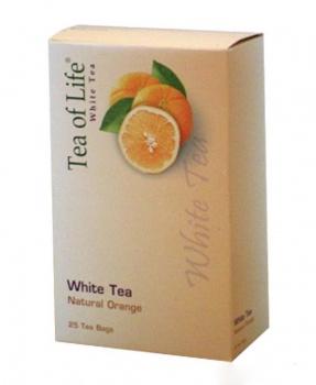 BÍLÝ ČAJ NATURAL POMERANČ porcovaný 50g bílý čaj, tea of life white tea, bílý čaj s pomerančem, pomeranč