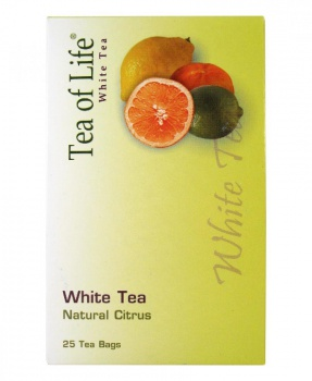 BÍLÝ ČAJ NATURAL CITRUS porcovaný 50g white tea, tea of life, white tea natural citrus, bílý čaj, citrusy, mandarinka, pomeranč, limetka