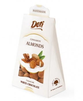 MANDLE V BÍLÉ ČOKOLÁDĚ SE SKOŘICÍ 100g mandle, mandle v bílé čokoládě, skořice, mandle v bílé čokoládě se skořicí, bez lepku
