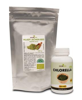 Mladý ječmen BIO 100g + Chlorella BIO tablety 100g detoxikace,mořské,řasa,játra,překyselení,trávení,imunita,energie,antioxidant,srdce,cévy,spirulina,ječmen,očista,hubnutí