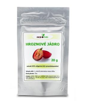 HROZNOVÉ JÁDRO 20 g prášek extrakt 95% OPC hroznové jádro,extrakt,opc,cévy,žíly,srdce,vitamin E