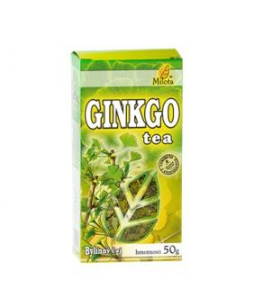 GINKGO TEA sypaný čaj 50g ginkgo tea, máta, jinan, ginkgo, mateřídouška, puškvorec, rozrazil, tymián, pelyněk, plicník, fenykl, lnice, vrbovka, puškvorec, eukalyptus, trávení, energie, krevní oběh, cévy, mozek