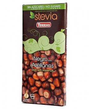 DIA HOŘKÁ ČOKOLÁDA OŘECH 125 g dia hořká čokoláda s lískovými oříšky se stévií, erythritol, stévia, dia čokoláda, hořká čokoláda, torras, bez cukru, cuti cuti