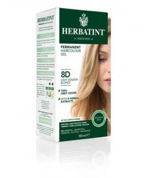 PERMANENTNÍ BARVA SVĚTLE ZLATAVÁ BLOND 8D 150ml permanentní barva na vlasy, barva na vlasy, zlatavá blond, blond, přírodní barva, herbatint
