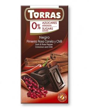 DIA HOŘKÁ ČOKOLÁDA SKOŘICE, CHILLI 75 g hořká čokoláda s růžovým pepřem, skořicí a chilli, hořká čokoláda, skořice, chilli, bez cukru, bez lepku, maltitol, pro diabetiky