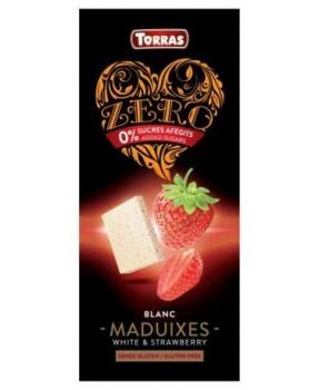 BÍLÁ DIA ČOKOLÁDA S JAHODAMI 125 g bílá čokoláda s jahodou, bez cukru, bez lepku, jahody, čokoláda, bílá čokoláda