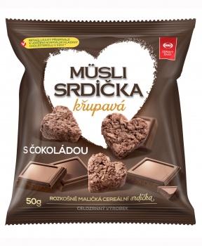 MÜSLI SRDÍČKA ČOKOLÁDOVÁ 50 g musli srdíčka čokoládová, čokoláda, ovesné vločky, betaglukan