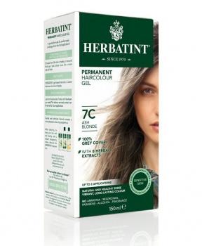 PERMANENTNÍ BARVA POPELAVÁ BLOND 7C 150ml permanentní barva na vlasy, barva na vlasy, popelavá blond, blond, přírodní barva, herbatint, měděná