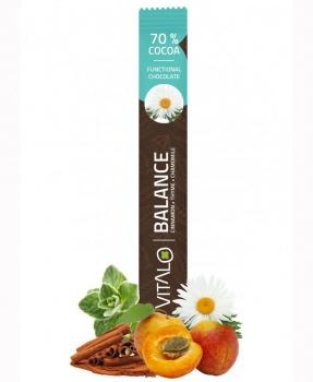 Funkční čokoláda BALANCE 40 g funkční čokoláda, čokoláda, balance, kakao, hořká čokoláda, kakaové boby, majoránka, tymián, relax, spánek, krevní oběh