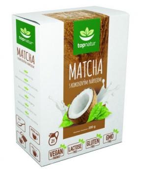 MATCHA S KOKOSOVÝM NÁPOJEM 200 g matcha,kokosový nápoj,rostlinné mléko,vegan,bez laktózy,bez GMO,bez lepku,energie,únava