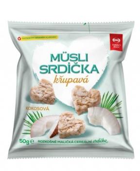 MÜSLI SRDÍČKA KOKOSOVÁ 50g musli srdíčka kokosová, svačinka, mlsání, s kokosem, kokos