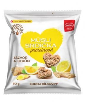 MÜSLI SRDÍČKA PROTEINOVÁ SE ZÁZVOREM A CITRÓNEM 50 g musli srdíčka proteinová, svačinka, mlsání, musli srdíčka se zázvorem a citronem, proteinová srdíčka, zázvor, citron, semix