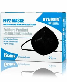 RESPIRÁTOR FFP2 HYGISUN 6KS černý, daň prominuta covid,koronavirus,rouška,roušky,ochrana,imunita
