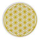 """SKLENICE MYTHOS gold - 250 ml - """"Květ života"""" sklo,květ života,energie,voda,šungit,očista,sklenice,dárek"""