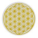"""ENERGETICKÝ skleněný TÁCEK průměr 9 cm se zlatým Květem života ENERGETICKÝ TÁCEK 9 cm - """"Květ života"""",energie,květ života,tácek"""