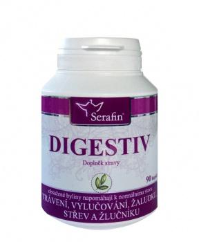 DIGESTIV 90 kapslí digestiv serafin doplněk stravy 90ks, čekanka, anýz, puškvorec, bedrník, trávení, reflux